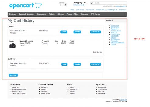 admin features of Opencart shop