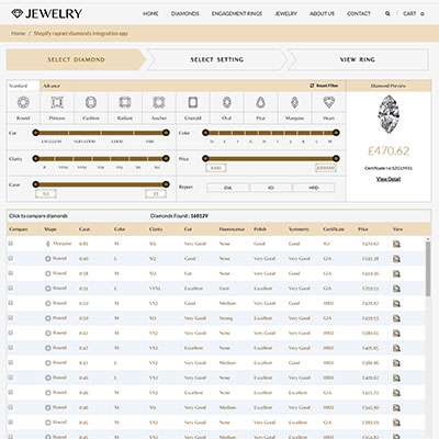 Shopify Integrated with Rapnet IDEX Diamond data